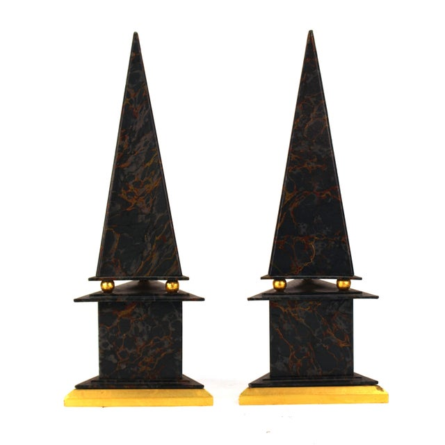 Neoclassical Revival Neoclassical Style Obelisks in Marbled Paper and Gold Foil - a Pair For Sale - Image 3 of 11