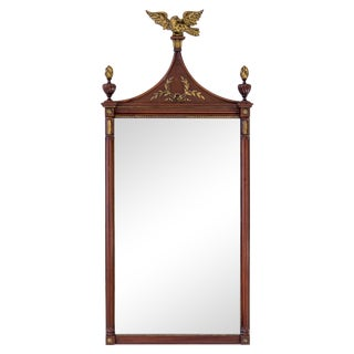 Mahogany & Gilded Mirror With Carved Eagle For Sale