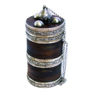 19c Anglo Indian Hardwood Caddy With Solid Silver Mounts For Sale