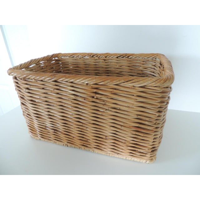 Vintage Woven Rattan Magazine or Storage Basket For Sale In Miami - Image 6 of 6