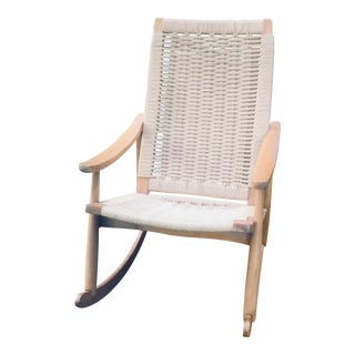 Vintage Mid Century Hans Wegner Style Woven Rope Rocking Chair For Sale