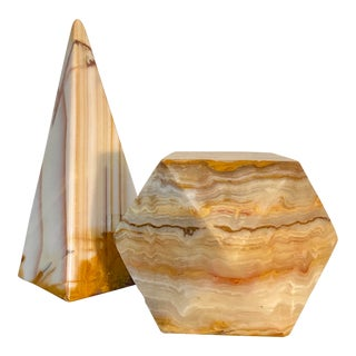 Onyx Geometric Sculptural Desk Paperweights - a Pair For Sale