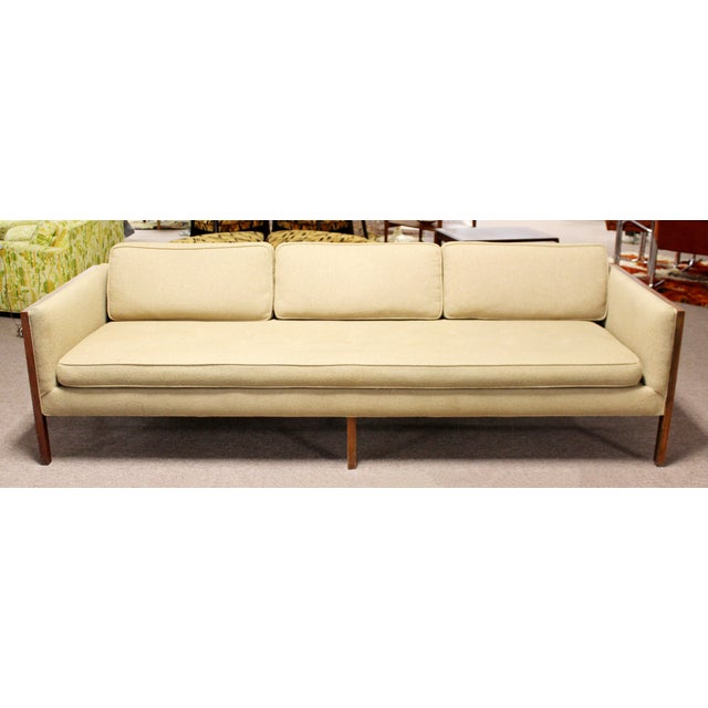 Florence Knoll Mid Century Modern Sofa Wood Framed Probber Knoll Attributed 1960s For Sale - Image 4 of 10