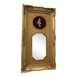 Vintage Neoclassical Gold Gilded Frame Trumeau Mirror For Sale