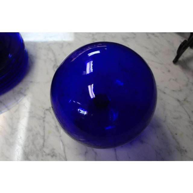 Art Deco Cobalt Art Glass Ball For Sale - Image 3 of 6