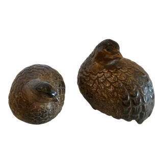 10th Century Japanese Brown Ceramic Doves - a Pair For Sale