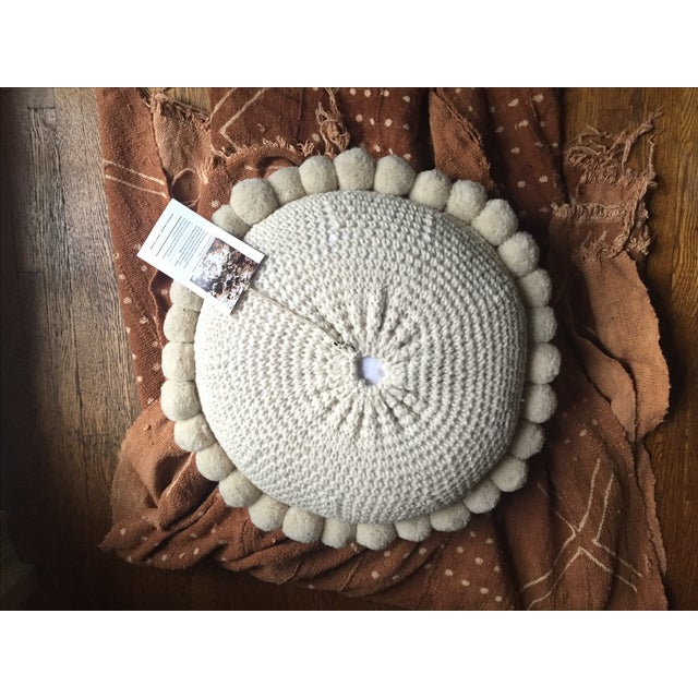 Large Bohemian Round Wool Floor Pillow With Poms - Image 3 of 9