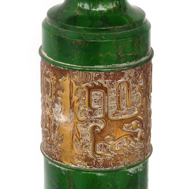 Bernhard Rohne Retro Standing Floor Green Enamel & Brass Column Telephone For Sale - Image 4 of 8