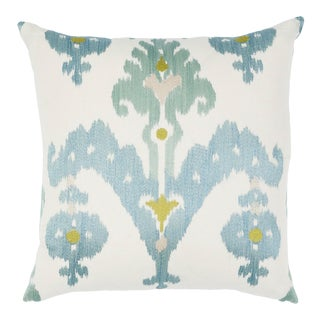 Schumacher Raja Embroidery Pillow in Sky For Sale