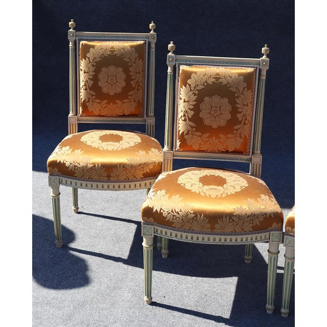 These are 4 gorgeous 1890s French signed Maison Jansen side chairs that match a pair of settees and arm chairs that we...