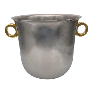 Late 20th Century Inoxbeck Italy Stainless Steel With Brass Ice Bucket For Sale