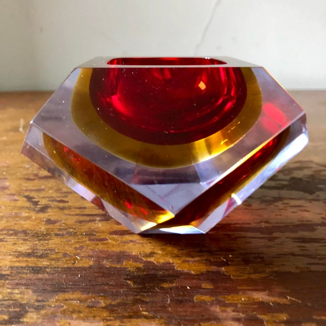 Glass Mid Century Mandruzzato Faceted Sommerso Murano Glass Bowl For Sale - Image 7 of 7