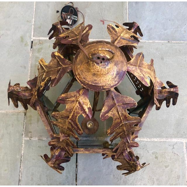 Two Worlds Arts Custom Large Scale Gilt Tole Chandelier/Hall Lantern For Sale - Image 4 of 13