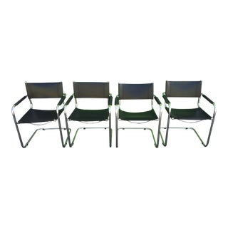 1980s Vintage Mart Stam Italian Saddle Leather & Chrome Cantilever Chairs- Set of 4 For Sale