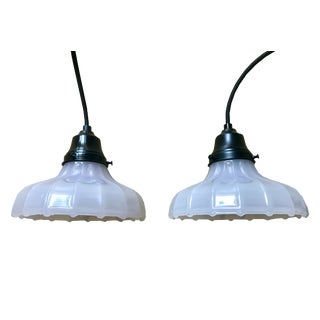 Pair of 20th Century Milk Glass Hanging / Ceiling Lamps For Sale