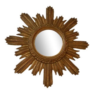 1940's French Gold Gilt Sunburst Starburst Mirror For Sale