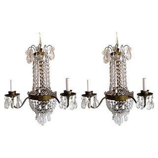 Brass & Crystal Sconces - A Pair For Sale