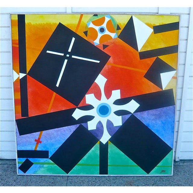 Geometric Abstract Painting by James McCray, 1966 For Sale - Image 9 of 10