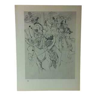"""Circa 1980 """"Carnival in the Moulin Rouge Arrival of Cha-U-Kao 1896"""" Print of a Toulouse-Lautrec Drawing For Sale"""