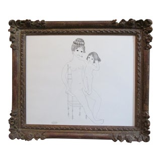 "French ""Mother and Child"" Pen and Ink Drawing by Christine Chagnoux For Sale"