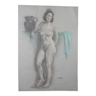 """Vintage Signed Pastel Drawing-Full Length Female Nude by E. Foster- 20.25""""x25"""" For Sale"""
