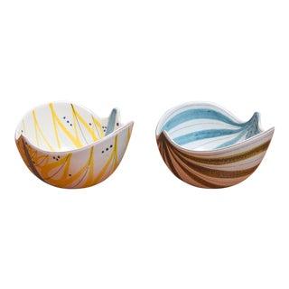 1950s Stig Lindberg for Gustavsberg Faience Leaf Bowls - a Pair For Sale