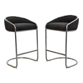 Mid Century Modern Thonet Style Chrome Plush Bar Stools- A Pair For Sale