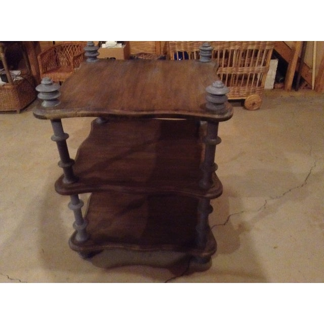 Three Shelf Brown Wooden Table, With Wooden Posts in Light Turquoise Color - Image 2 of 5