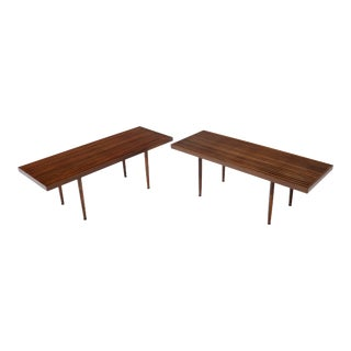 Pair of Mel Smilow Solid Walnut Slat Benches or Coffee Tables For Sale
