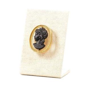 Vintage Black & Gold Cameo Brooch For Sale