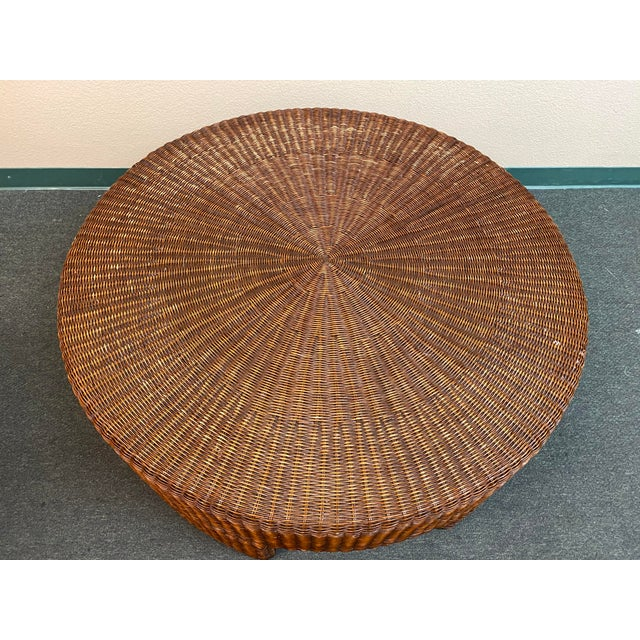 Design Plus Gallery presents a Wicker Coffee Table by Hickory Chair Company. This chunky round cocktail table features a...