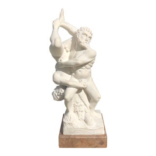 1950s Italian Marble Nude Hercules and Diomedes Sculpture For Sale