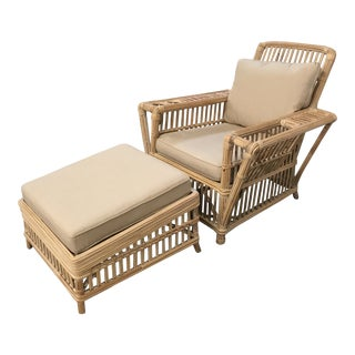 Linen and Rattan Lounger & Ottoman - 2 Pieces For Sale