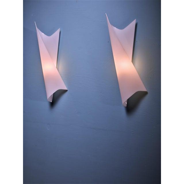 Bertil Brisborg Extra Large White Plexiglass Swirl Wall Lamps, Sweden, 1950s - Image 3 of 3