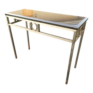 Vintage and Industrial Modern Steel and Granite Console For Sale