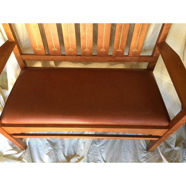 Harvey Ellis Stickley Bench in Cherry For Sale - Image 4 of 10