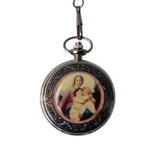 Round Shape Lady & Baby Hugging Painting Chain Pocket Watch For Sale