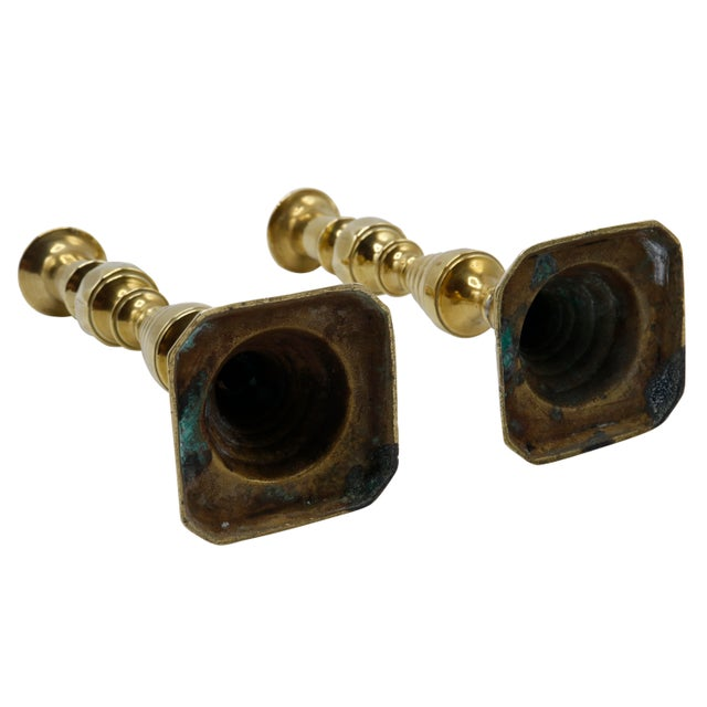 Metal Gold Brass Candlesticks - a Pair For Sale - Image 7 of 8
