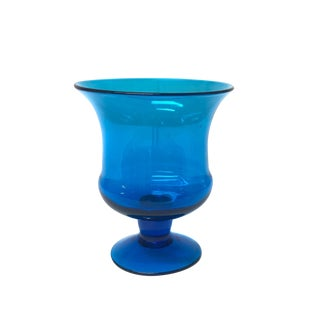 Mid Century Modern Royal Blue Art Glass Vase