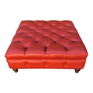 Huge Square Red-Orange Tufted Leather Designer Ottoman For Sale