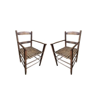Pair of Vintage Rustic Woven Wooden Chairs For Sale