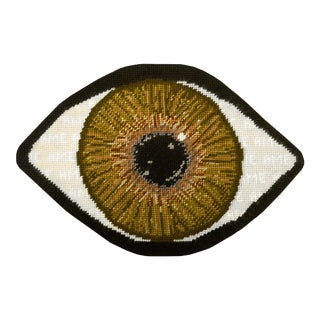 Custom Made Brown Eye Sculpted Pillow For Sale