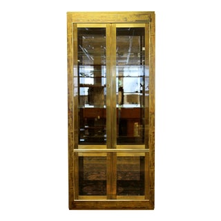 Mid Century Modern Bernard Rohne Mastercraft Acid Etched Brass Glass Etagere 60s For Sale