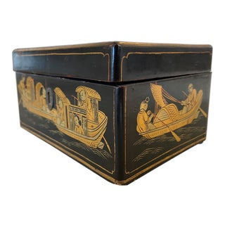 Vintage Black Lacquered Fishing Scene Tea Caddy For Sale