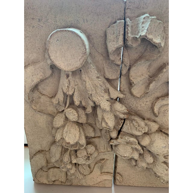 1990s Architectural Faux Limestone Frieze With Fruit and Garland Motif - Set of 3 For Sale - Image 4 of 11