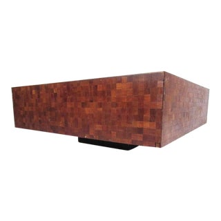 Midcentury Parquet Coffee Table in the Style of Milo Baughman For Sale