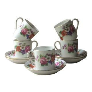 Vintage English Country Style Demitasse Cups/Saucers - Service for 5 For Sale