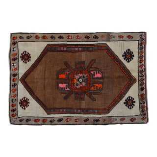 Hand Knotted Turkish Tribal Rug One of a Kind Natutal Rug - 4′10″ X 7′2″ For Sale