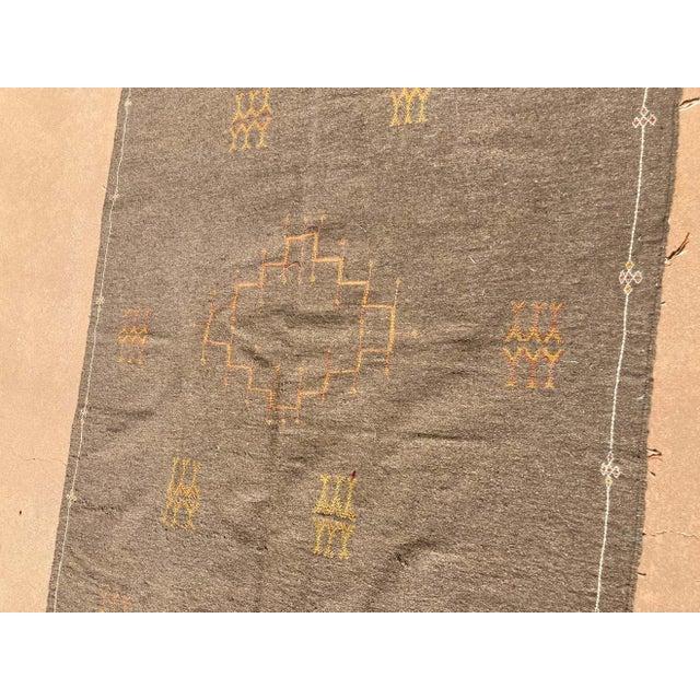 Moroccan Vintage Flat-Weave Brown Rug For Sale - Image 11 of 13