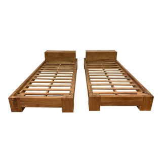 Pair of Twin Size Solid Wood Bed Frames For Sale